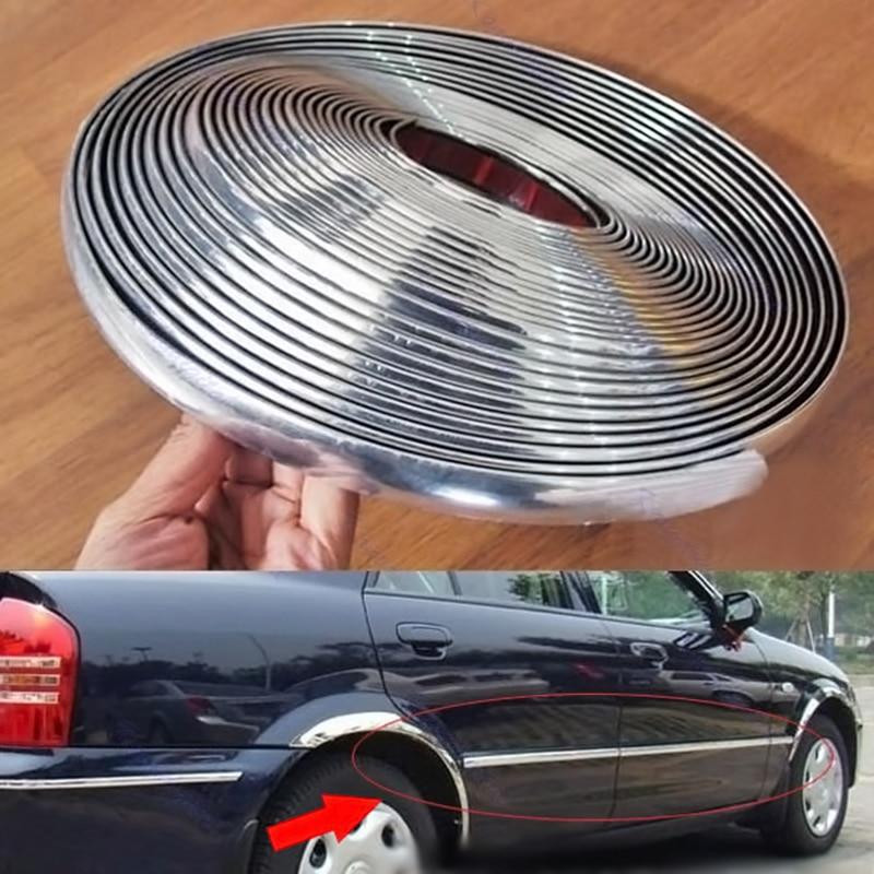 Car trim strips Chrome-plated Rubbing Anti-collision accessories 15M*6mm