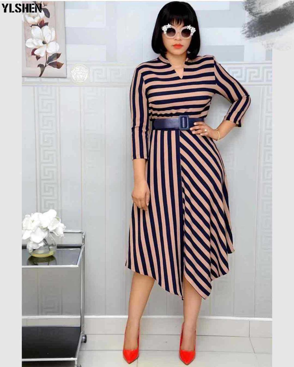 African Dresses For Women Stripe Africa Clothing Ankara Long Dress High Quality Length Fashion African Dress For Lady With Belt
