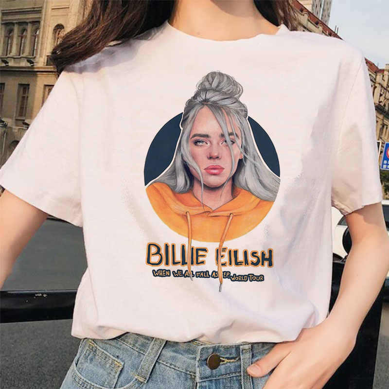 Billie Eilish T Shirt Rompi Korea Fashion Style Perempuan Hip Hop Femme Pakaian Kaos Lucu Harajuku Musim Panas Kasual Rompi Korea Fashion Style T-shirt Streetwear