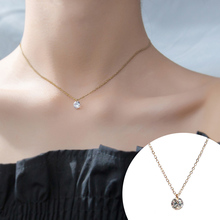 JIAN Trendy Women Pendant Necklace Choker Stainless Steel Gold Color CZ Crystal Chain Jewelry Birthday Gift for Girlfriend jian natural green pendant necklace choker women fashion jewelry birthday gift for girlfriend vintage chain collares