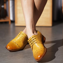 Handmade Shoes Flats Lace-Up Loafers Women Spring Round-Toe Genuine-Cow-Leather Woman