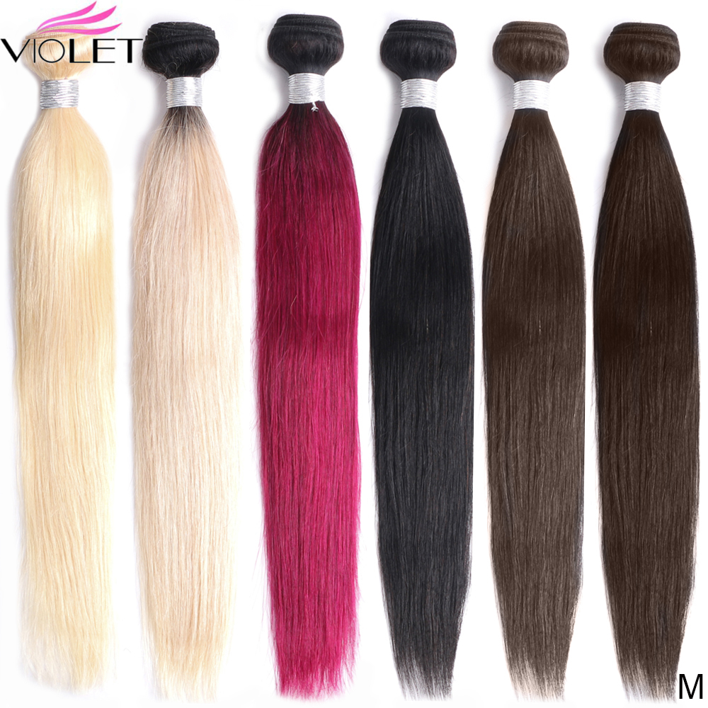 VIOLET Peruvian Straight Colors Human Hair Bundle 8-24 Inch Non-Remy Bundles T1B/Bug/#2/4/613 Colors Hair Extension Medium Ratio