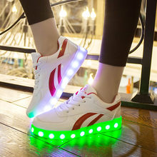 Glowing Sneakers for Girls USB Charging Sneakers Basket Children Light Shoes for Girls Boys illuminated krasovki Luminous Sneake(China)