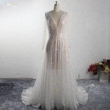 Rsw1539 contas de luxo lantejoulas destino vestidos de casamento com ilusão mangas compridas com decote em v praia ao ar livre vestido de noiva