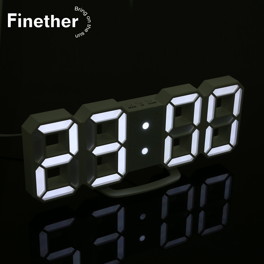 3D LED Wall Clock Night Light Modern Digital Alarm Clocks Table Nightlight For Home Living Room Office Desk 24 Or 12 Hour