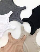 Venda quente novas cores!!! Mulher espera algodão rib tank top sem mangas em torno do pescoço grande estiramento topos colete