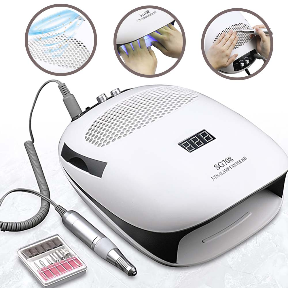 3-IN-1 Nail Dust Vacuum Cleaner & UV Lamp & Nail Drill Manicure Machine Extractor Fan For Manicure Nail Tool Dust Collector