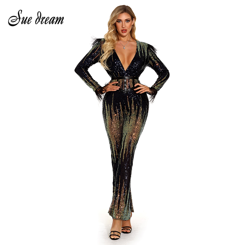 2020 New Summer Women's Long Sleeve V-Neck Belt Sequin Feather Jumpsuit Sexy Elegant Bodycon Club Celebrity Party Jumpsuit