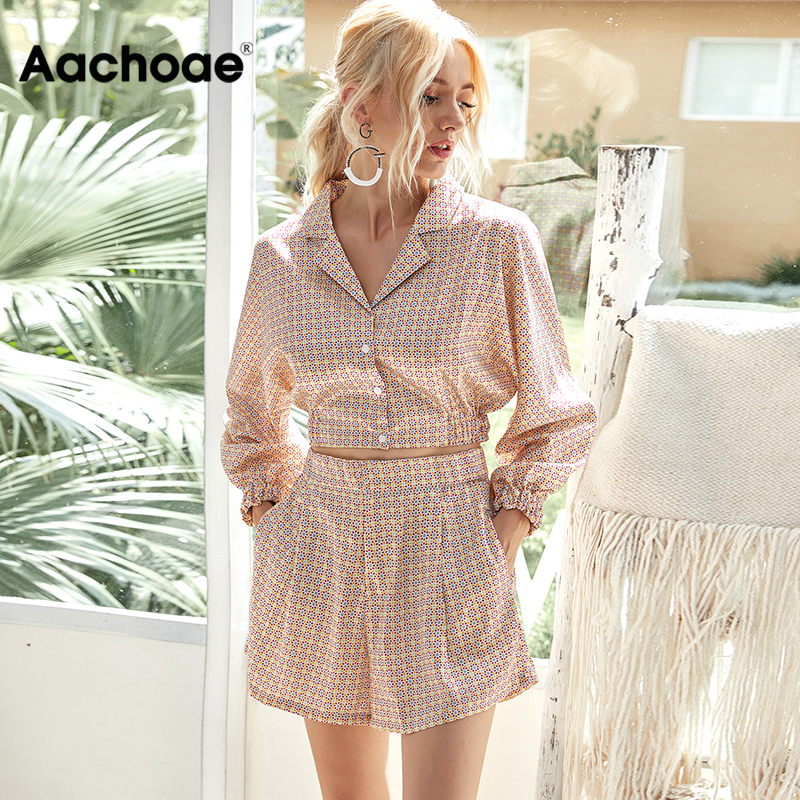 Aachoae Women Floral Print Two Piece Set 2020 Vintage Long Sleeve Blouse Tops With Casual High Waist Shorts Chic 2 Piece Set