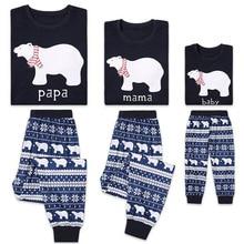 Рождественский повседневный комплект одинаковых пижам для всей семьи, одежда для сна с принтом медведя, одежда для сна, осенне-зимняя одежда из 2 предметов