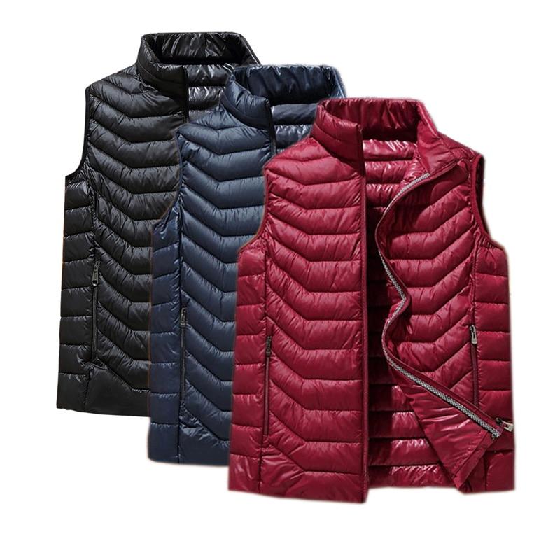 Winter New Men White Duck Down Vest Ultralight Vest Jacket Fashion Men Casual Jackets Coats Loose Vest Thicken Waistcoat 5XL 6XL