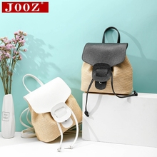 Summer woman's backpack bohemian beach bag fashion hand-woven straw small bakpack female holiday shoulder bag 40 27cm 2017 new female straw bag summer sand beach cotton holiday bag a4158