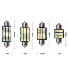 4pcs Car Festoon LED Interior Reading Light Highlight White 3014 C5W C10W 31mm 36mm 39mm 41mm Auto Room Ceiling Dome Lamp 12V