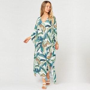 Image 2 - 2020  Quick drying Bohemian Women Summer Beach Dress Swim Wear Cover Up Tunic Sexy Deep Kaftan Beach Bikini Cover ups pareo Q930
