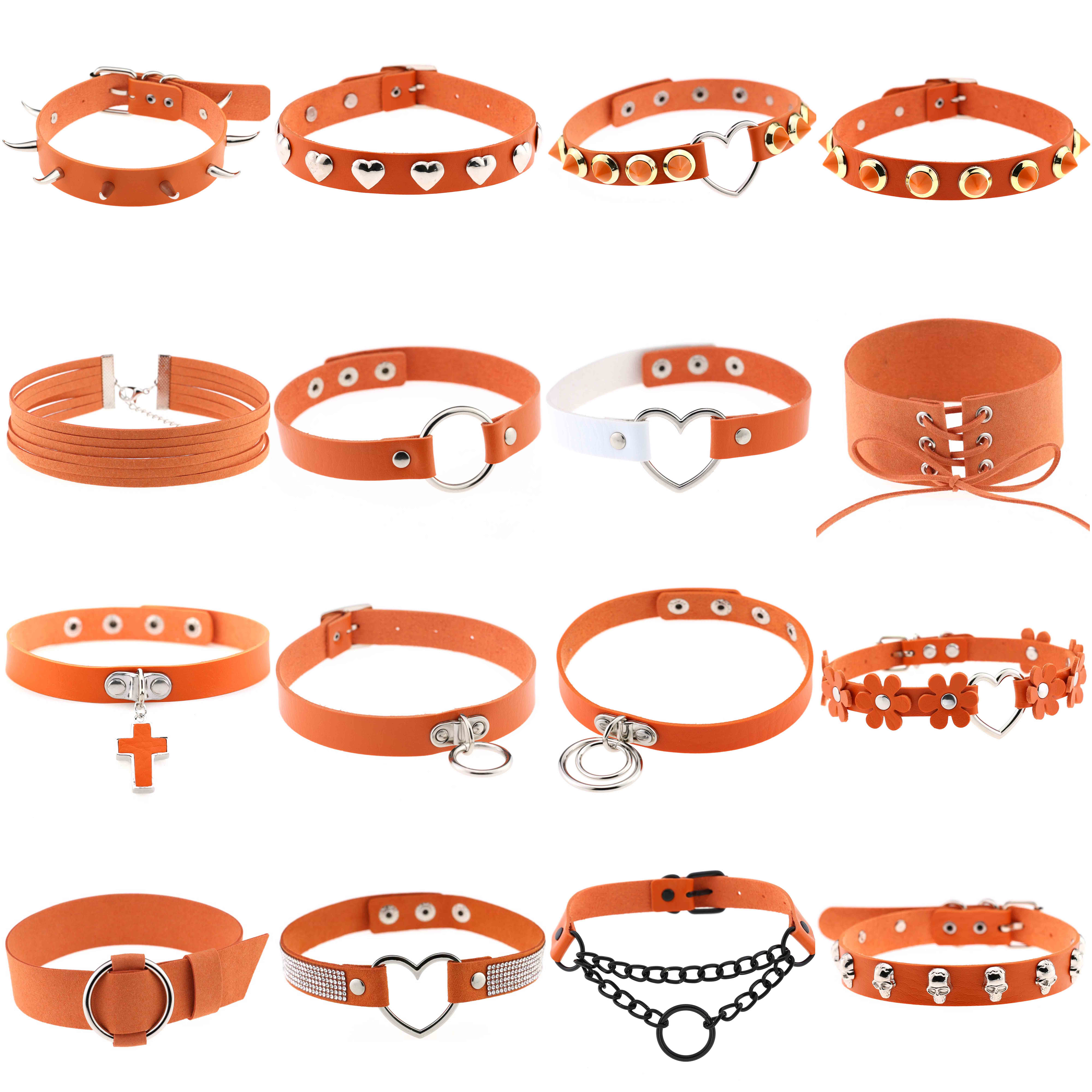 Women Orange Punk Choker Sexy Collar Necklace Pu Leather Goth Rivets Choker Necklace Chains Party Club Gothic Egirl Jewelry