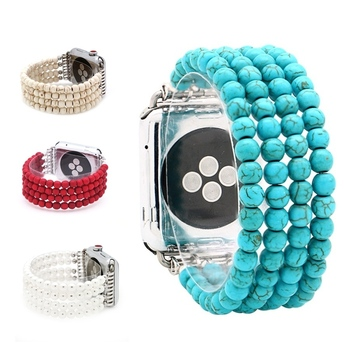 LuReen Natural Turquoise Stone Elastic Band for Apple Watch Series 1/2/3 42mm 38mm Bracelet Strap for iwatch 4/5 40mm 44mm fashion handmade elastic stretch faux pearl natural stone bracelet replacement iwatch strap women girls for apple watch band 38m
