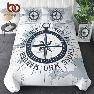Image 1 - BeddingOutlet Compass Bedding Set Nautical Map Duvet Cover World Map White Bedclothes Adults Boys Cool Home Textiles 3 Piece