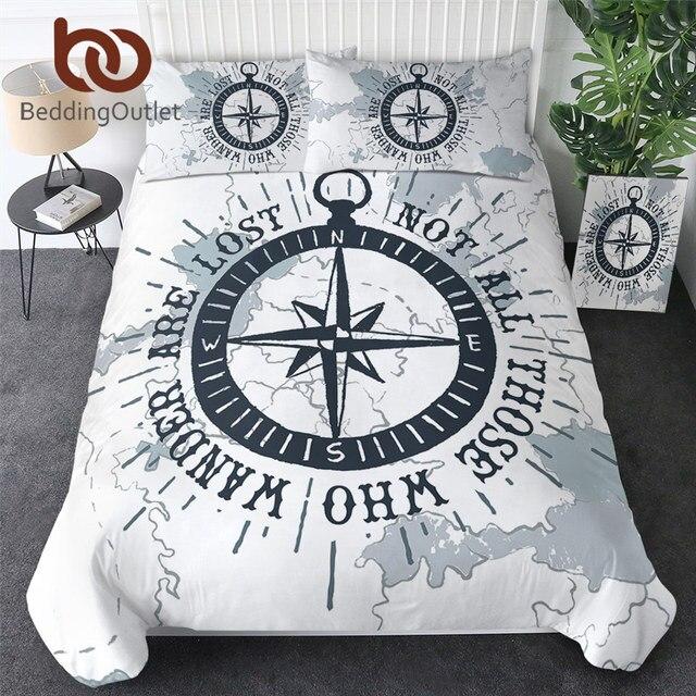 BeddingOutlet Compass Bedding Set Nautical Map Duvet Cover World Map White Bedclothes Adults Boys Cool Home Textiles 3 Piece
