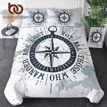 Beddingoutletコンパス寝具セット航海地図布団カバー世界地図ホワイト寝具大人ボーイズクールホームテキスタイル3ピース