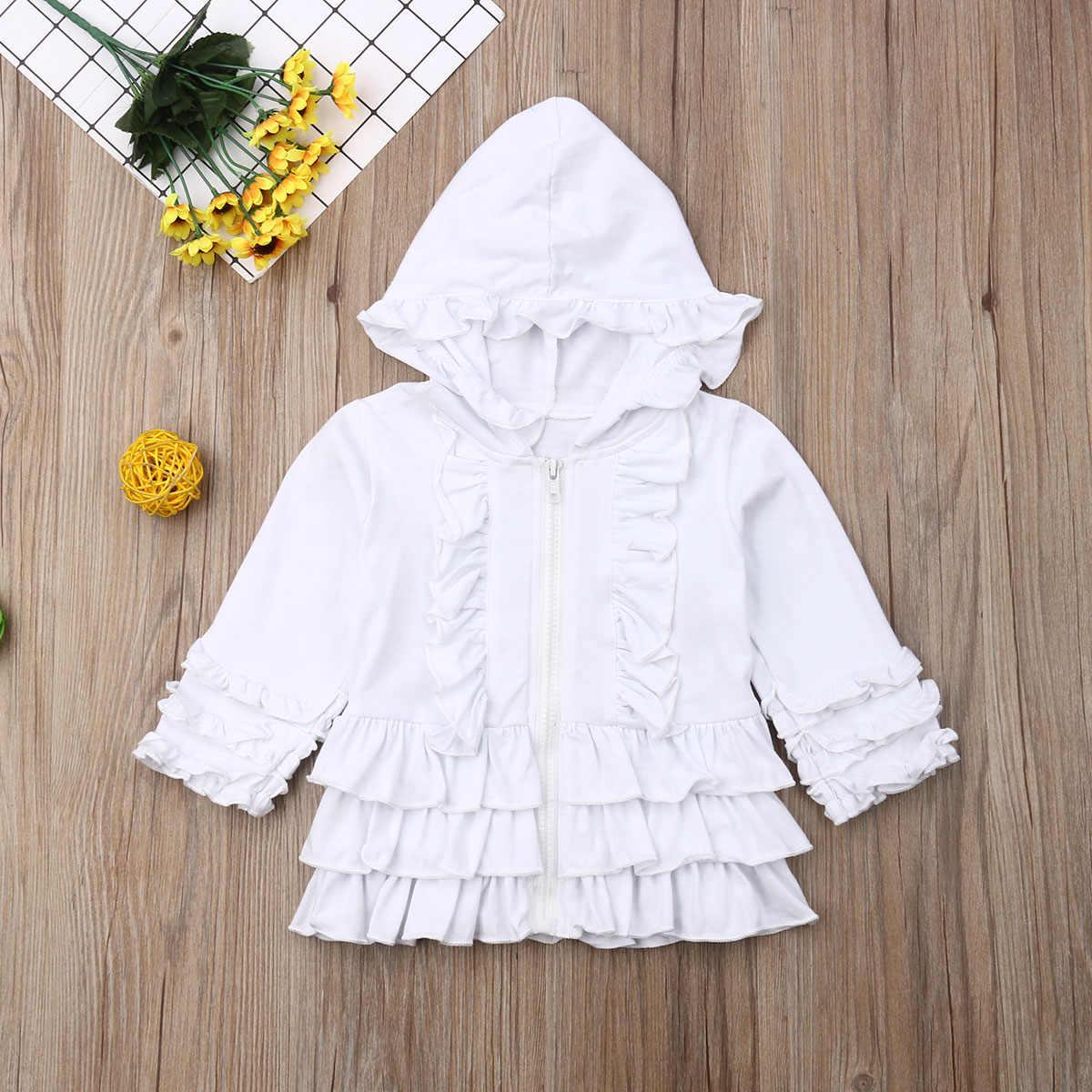 2019 תינוק אביב סתיו בגדים פעוט תינוק ילדים בנות מוצק רוכסן הסווטשרט מעיל מעיל ברדס מזדמן פרע להאריך ימים יותר 1- 5T