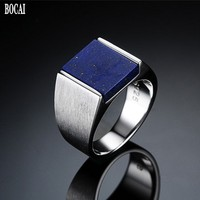 New Thai silver S925 silver men's ring inlaid with natural lapis lazuli rings for Man Korean fashion domineering 925 silver ring