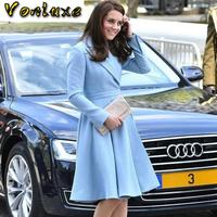 Fashion Elegant Blazer Dresses Ladies Office Wear Kate Middleton Princess Blue Dress Suit Jacket Slim Autumn Winter Female 2020