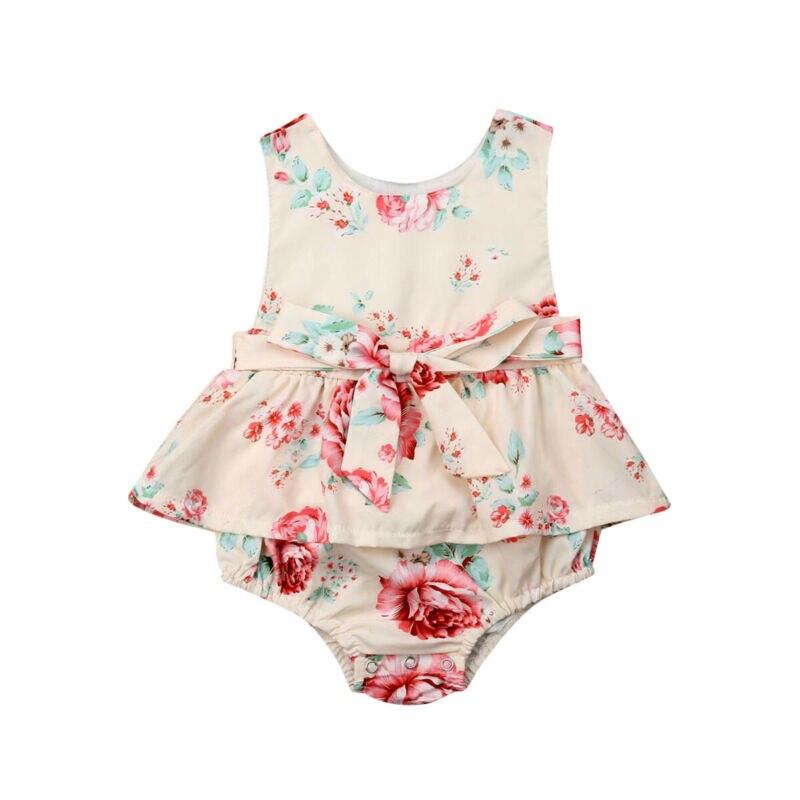 Pudcoco Summer Newborn Baby Girl Summer Flower Ruffle Bodysuit Sleeveless Ruffle Jumpsuit Outfits Cute Sunsuit