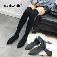 Over The Knee Sock Boots Women Foldable Thigh High Booties Strecth Fabric Ladies Solid Color Slim Long Bootees Pointed Toe