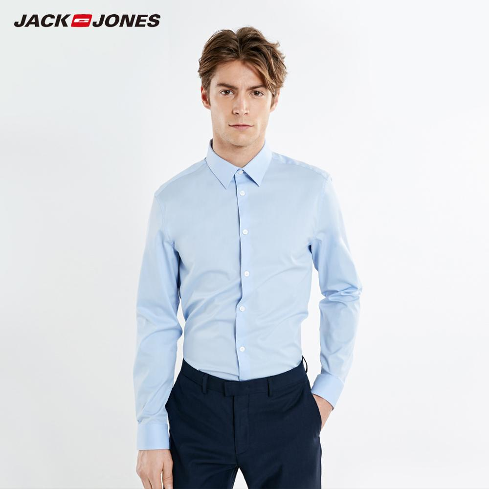 JackJones Men's Business Slim Fit Pure Color Long-sleeved Shirt Basic Menswear| 219105579
