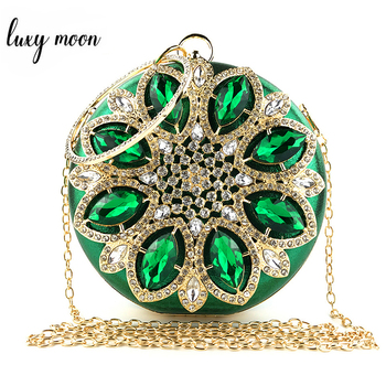 Green Clutch Bag Women Round Clutch Purse Evening Bag Crystal Wedding Purse and Handbag Exquisite Chain Shoulder Bag ZD1244 green crystal diamond flower floral purse fashion wedding bridal hollow metal evening purses clutch bag case box handbag female