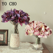 YO CHO Vintage mariposa orquídea flores artificiales flor falsa mano nupcial ramo de flores de boda decoración para organizar la Mesa