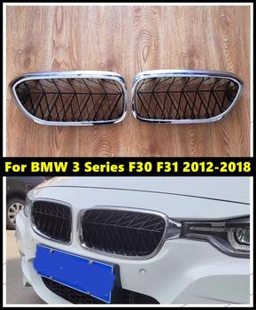 ABS Gloss Black Silver Front Bumper Grille Grills Racing Grills For For BMW 3 Series F30 F31320i 325i 328i 335i 2012-2018