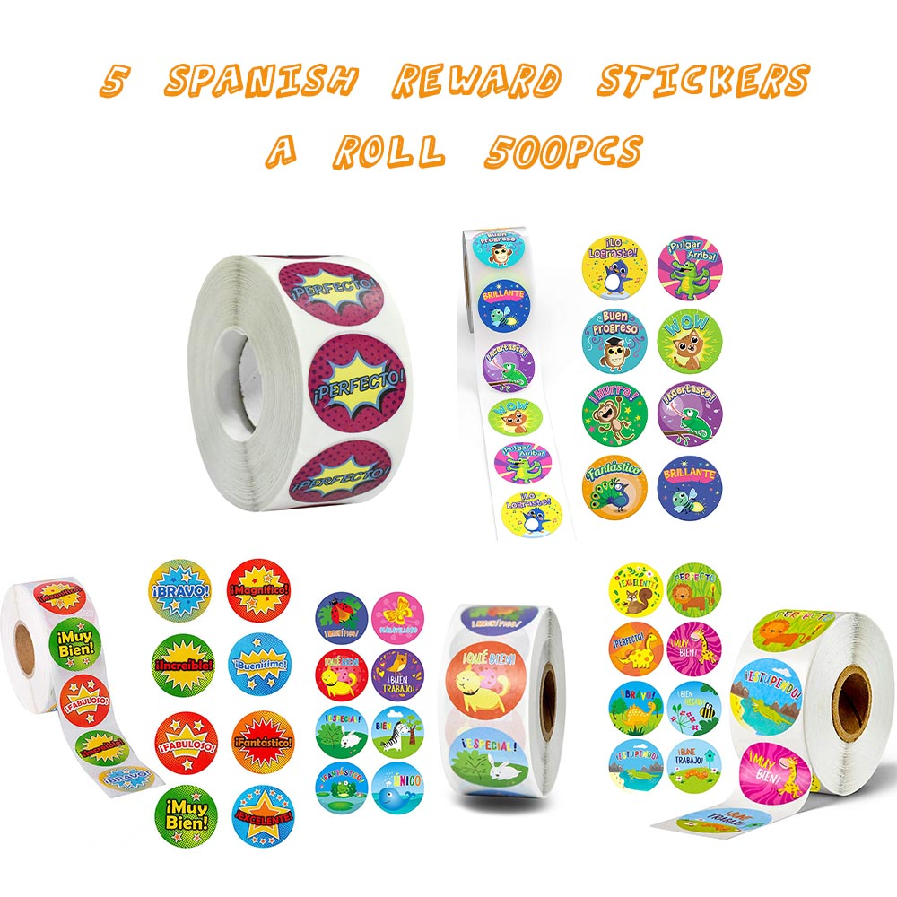 500 Pcs Cute Reward Stickers Roll With Spanish Word Motivational Stickers For School Teacher Student Stationery Stickers Kids