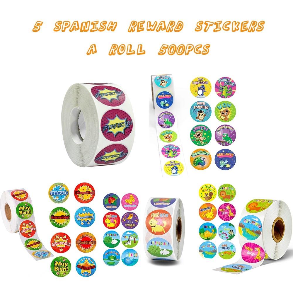 500 pçs bonito recompensa adesivos rolo com espanhol palavra motivacional adesivos para escola professor estudante papelaria adesivos crianças