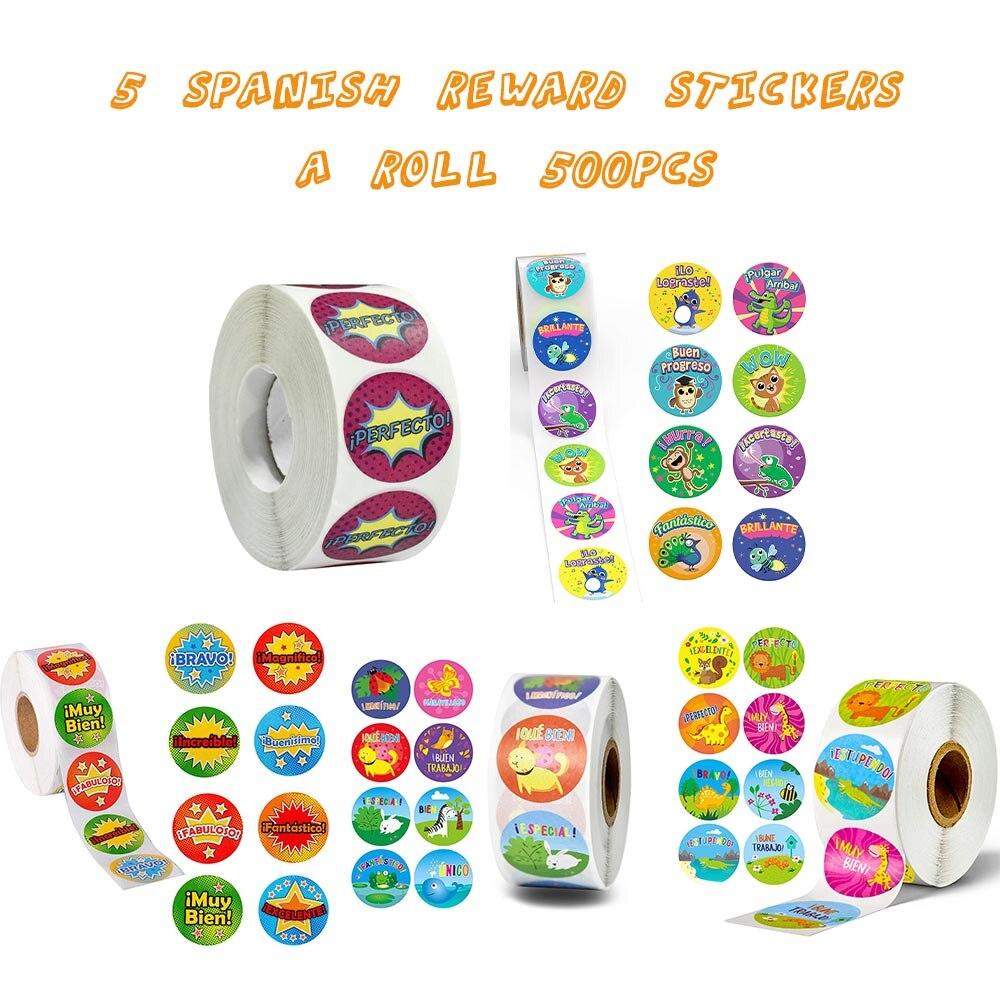 Купить наклейки в рулоне с испанскими словами 500 шт
