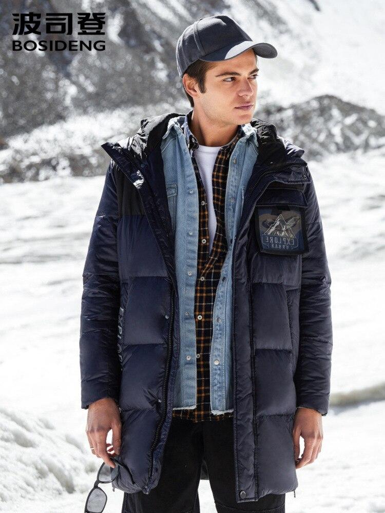 BOSIDENG Medium Length Hooded Down Jacket Men's Velvet Wind And Rain Proof Fashionable Coat B80141103