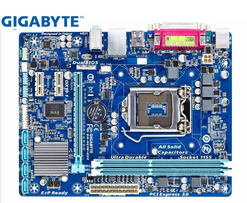 Gigabyte GA-H61M-DS2 Original Motherboard LGA 1155 DDR3 H61M-DS2 16GB Support I3 I5 I7 H61 USED Desktop Motherboard