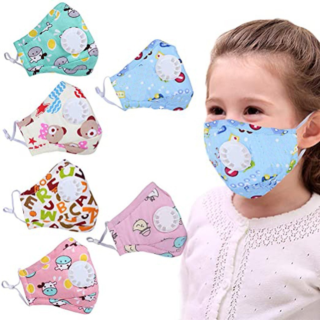 6PCS PM2.5 Kids Dust Mouth Mask Cute Cartoon Printed Mask Dustproof Kids Washable Filter Face Masks Protection Respirator