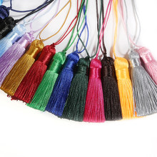 10 unids/lote de seda de poliéster borde con flecos 5,5 cm borla de algodón para boda fiesta decoración de costura DIY Accesorios