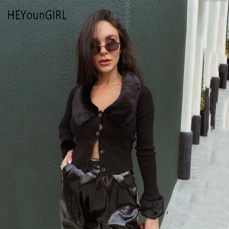 HEYounGIRL Furry Turn-down Collar Cardigan Women Casual Ribbed Long Sleeve Knitted Sweater Korean Fashion Jumper Thin Autumn