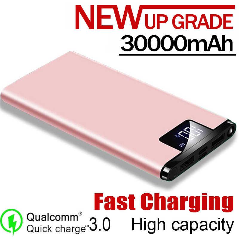 30000mAh Powerbank קיבולת גבוהה נייד כוח בנק USB הכפול LCD תצוגת סוללה מטען נייד טלפונים חכמים ומחשבי לוח