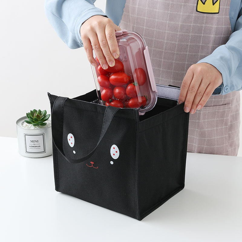 Food Storage Bag Portable Canvas Lunch Bag Office Student Lunch Box Aluminum Foil Insulation Bag Travel Picnic Handbag Tote in Bags Baskets from Home Garden