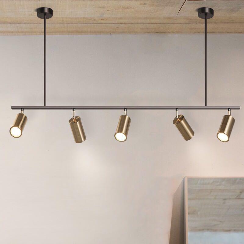 Abat-jour plaqué or Led Spot lampe suspendue Design moderne Spot suspendu pour salle à manger Luminaire suspendu en métal doré