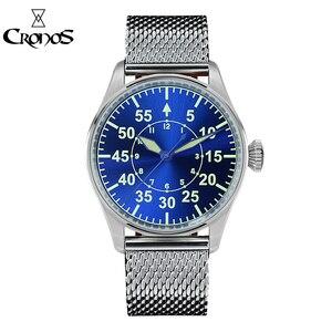 Image 2 - Cronos機械式パイロットfliegerメンズ腕時計ステンレス鋼スケルトンバック防水ブルー手スーパー発光メッシュバンド