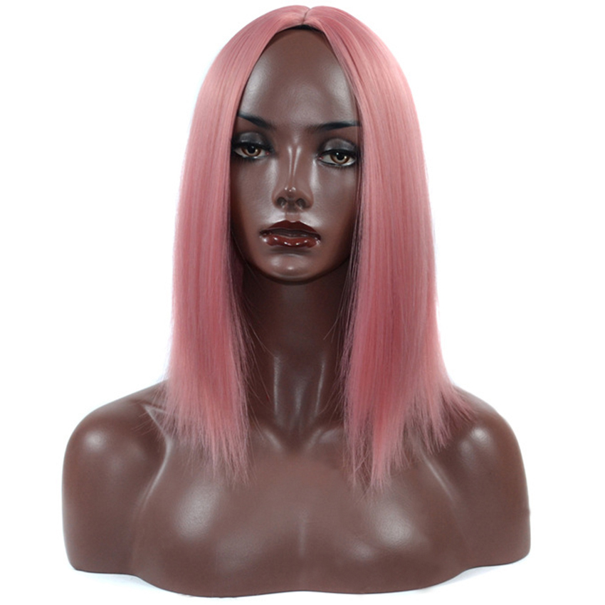 Straight Purple/grey/pink Wig For Women Cosplay Medium Length Female Peruca High Temperature Fiber Middle PaRT Wigs Synthetic
