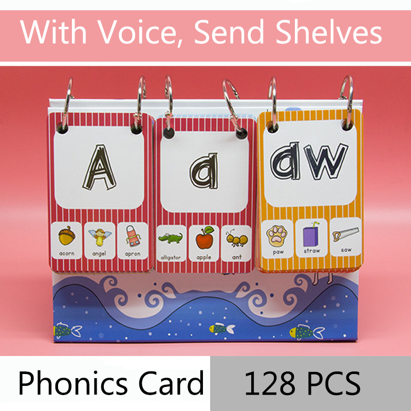 128Pcs/set English Phonics Root Pronunciation Rules Kids Learn English Word Card For Children Learning English Educational Toys