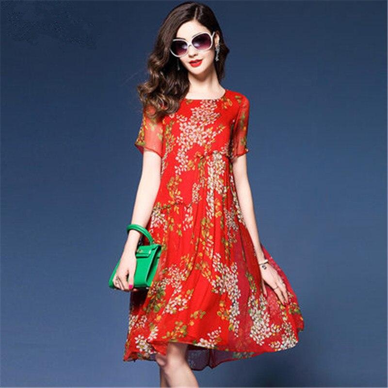 Ukrainian Floral Silk Dress Vestido De Festa Red Women's Summer New Loose Party Long Dresses
