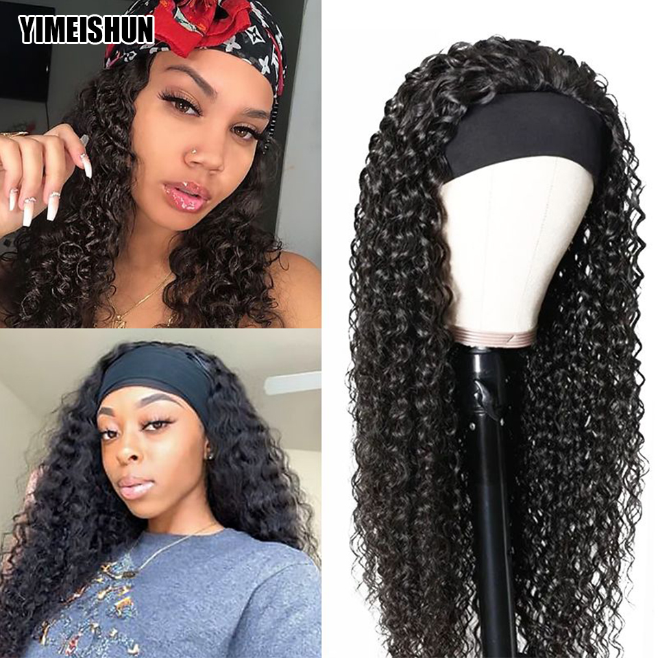 YIMEISHUN Headband Wig Natural Color Kinky Curly Human Hair Wigs Scarf Wig Mongolian Hair Curly Wig Glueless Wig for Women