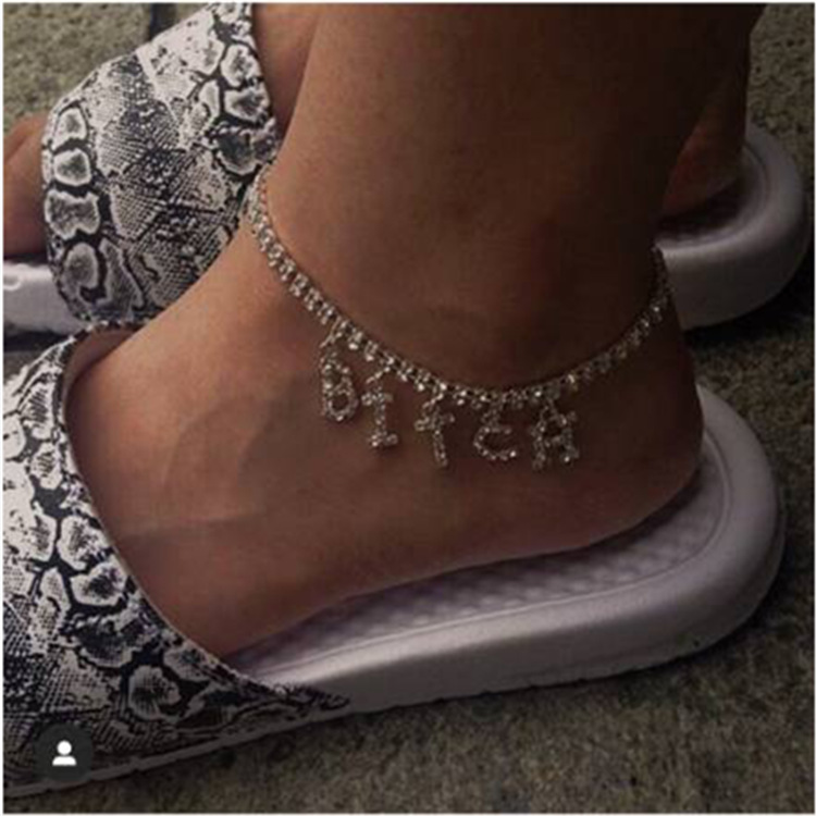 Hip hop Women BITCH Crystal Anklets Bracelet Tennis Letter DIY Jewelry Silver Color Gold Foot Beach Leg Chain Barefoot Ankle