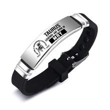 Signo do zodíaco taurus gemini câncer pulseiras jóias de aço inoxidável id pulseira silicone jóias acessórios
